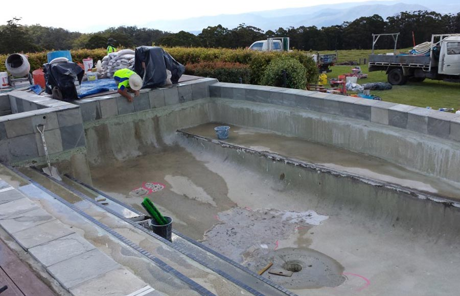 Photo of the project in progress - commercial pool renovation