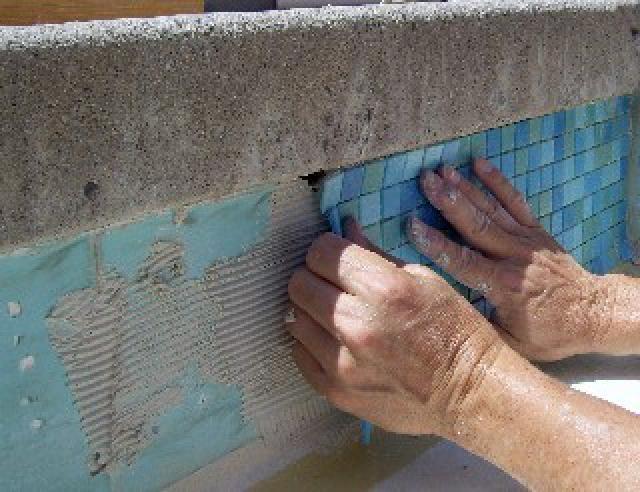Just Add Water Pools Brisbane laying waterline tiles
