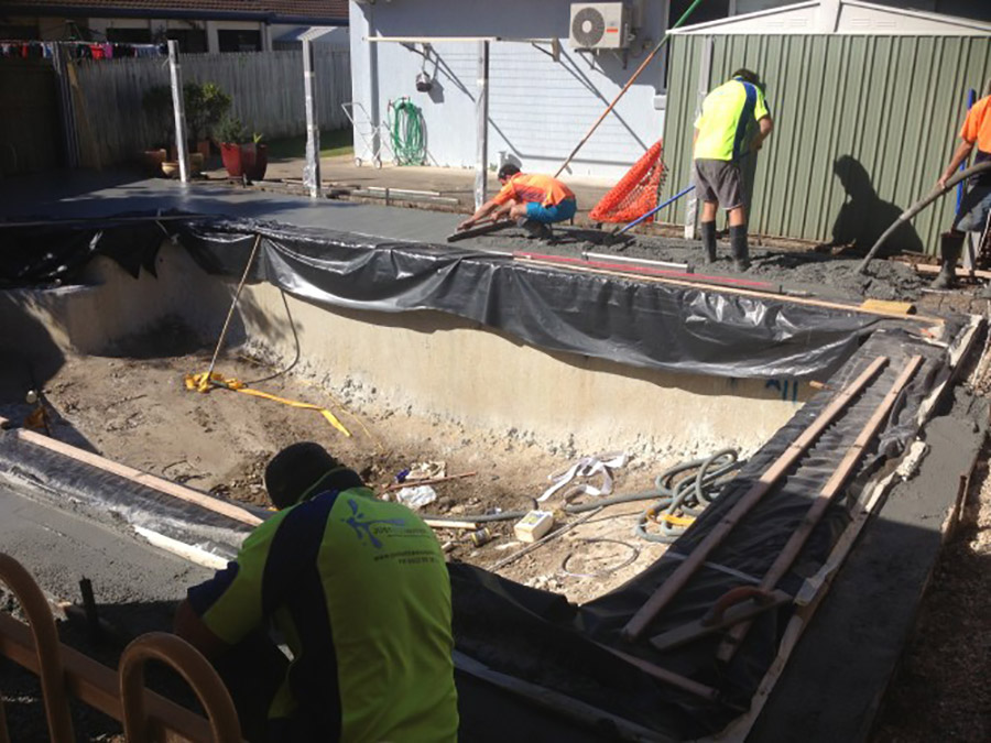 Photo of the project in progress, Concrete Pool Restoration Ormiston
