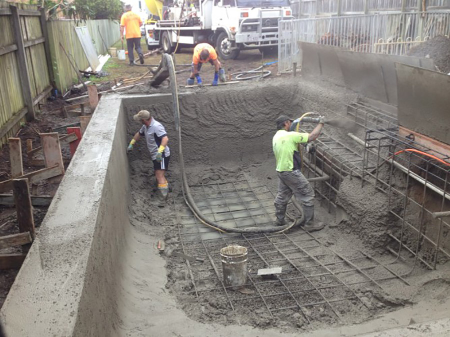 Photo of the project in progress, Manly pool building