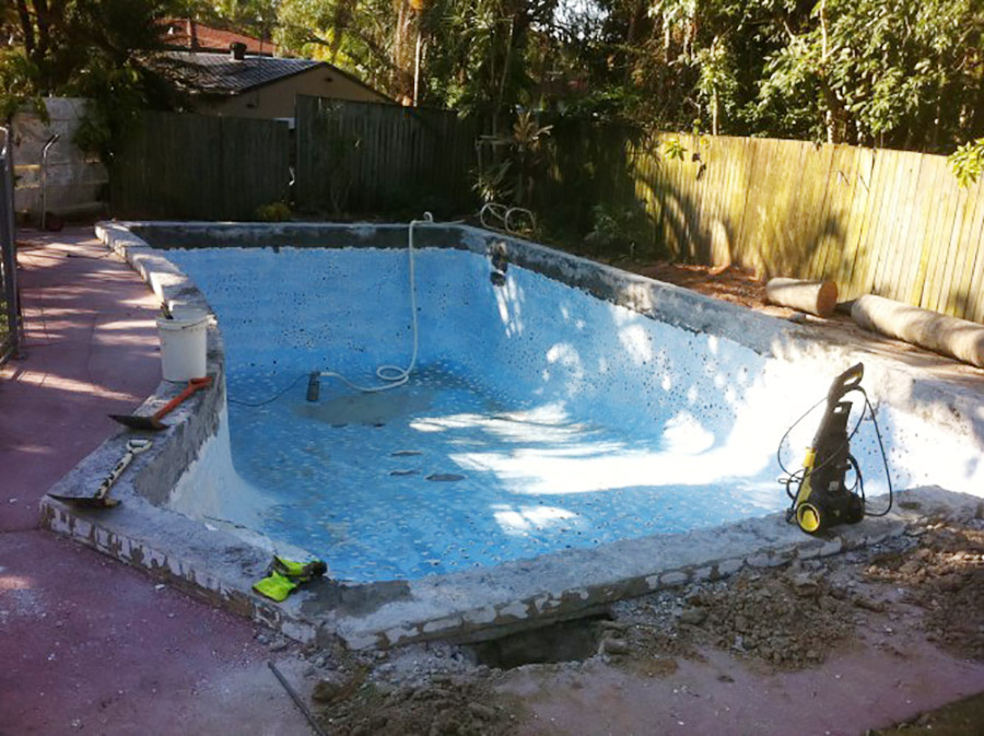 Photo of the start of the project, Alexandra Hills pool renovation