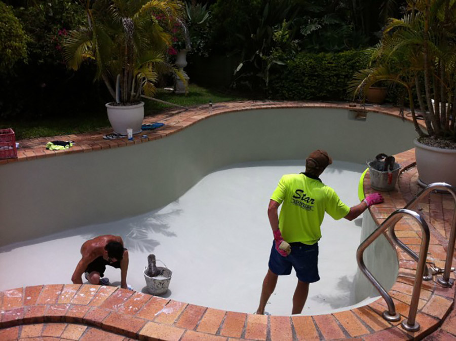 Photo of the project in progress, Shailer Park pool resurfacing
