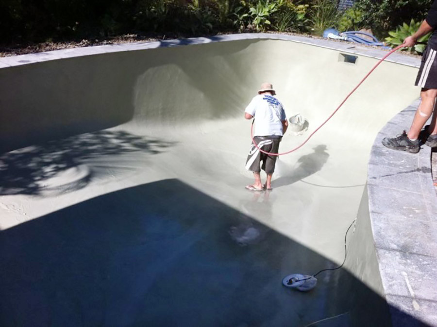 Photo of the project in progress, Birkdale pool renovation