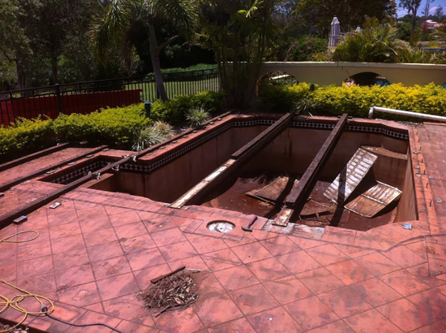 Photo of the start of the project, Carindale pool refurbishment